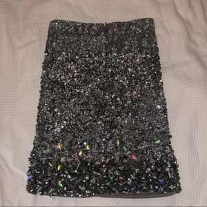Allsaints Hand embellished sequin skirt